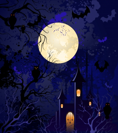 churchyard: grunge blue background on halloween, with the full moon, night sky, with dried branches of trees, an old castle, flying bats and owls