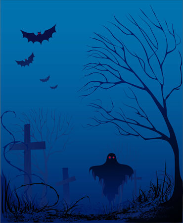 deserted: in the dark night halloween from the old cemetery, overgrown grass and trees barbed fly bats Vampires and ghosts with a terrible