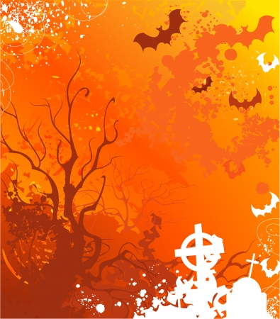 background on halloween with withered trees and abandoned tombs, painted bright orange paint          Illustration