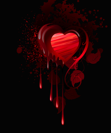 heart, drawn in red paint and decorated with leaves of roses on a dark background  Stock Vector - 25441875