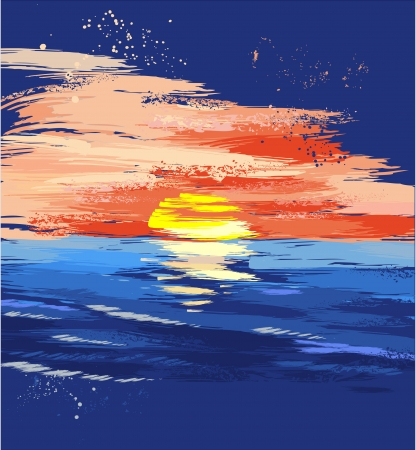 sunset on the sea, drawn by paints, large brush strokes