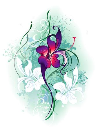 violette fleur: peint, belle fleur pourpre artistique avec des plantes vertes sur un fond blanc