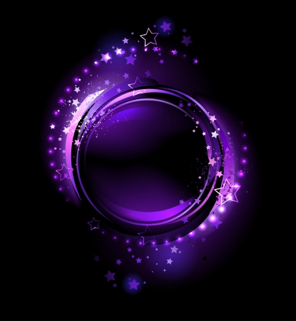 purple, glowing , round banner , decorated with stars on a black background  Vector