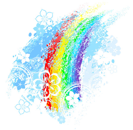 rainbow painted with colored chalk on a white background