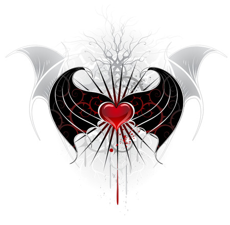 artistically: artistically painted, red heart of a vampire with black wings, decorated with a pattern of spikes.