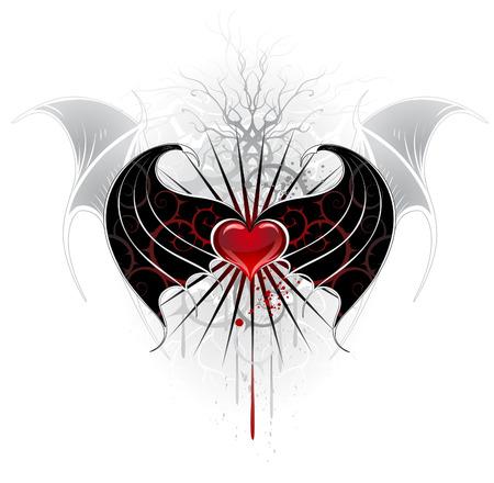 papier peint noir: artistiquement peint, coeur rouge d'un vampire avec des ailes noires, d�cor� d'un motif de pointes.