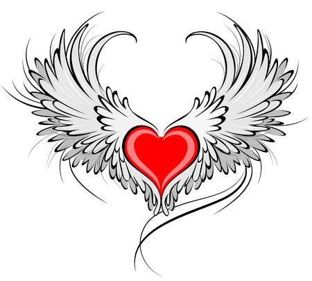 블랙 부드러운 윤곽으로 장식 된 회색 천사 날개를 가진 예술적으로 그린 붉은 마음.