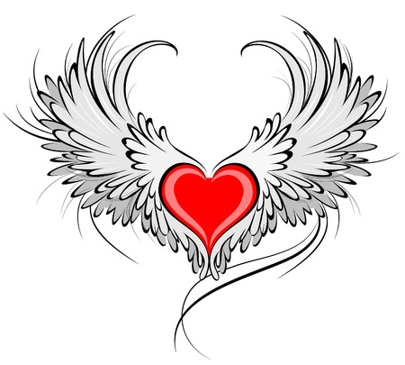 artistically painted red heart with angel wings gray, decorated with black smooth contour.