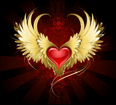 bright red heart of an angel with golden wings shining in the dark radiant red background decorated with a pattern.  Ilustração