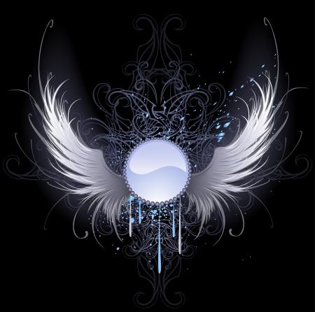 alas de angel: Bandera azul redonda con alas de ángel blanco artísticamente pintados sobre un fondo negro adornado con un patrón y pintura azul. Vectores