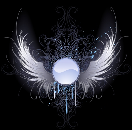 gothic angel: round blue banner with artistically painted white angel wings on a black background decorated with a pattern and blue paint.