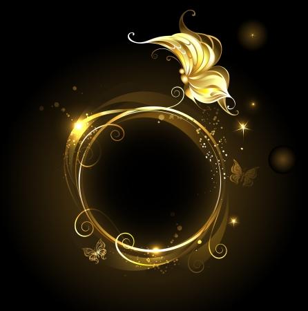 , oro, bandera ronda brillante con la mariposa de oro sobre fondo negro Vectores