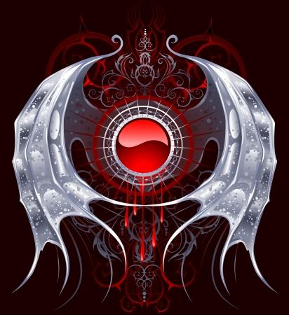 bannière rond rouge avec des ailes d'argent d'un dragon sur un fond noir.