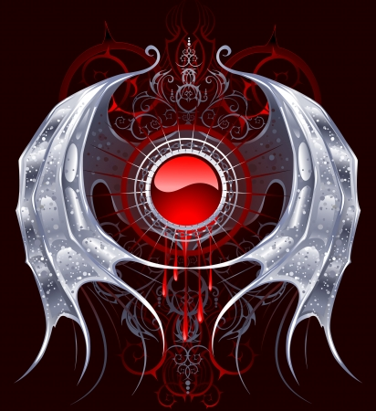 gothic: round red banner with silver wings of a dragon on a black background.