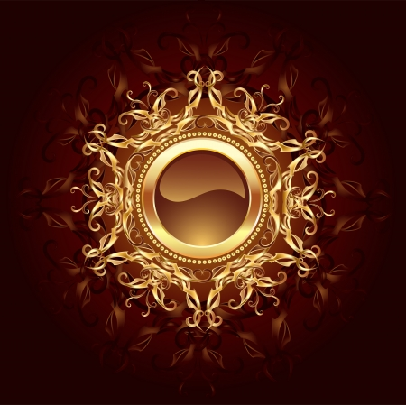 gold frame: round banner jewelry gold framed symmetrical pattern on a dark brown background.