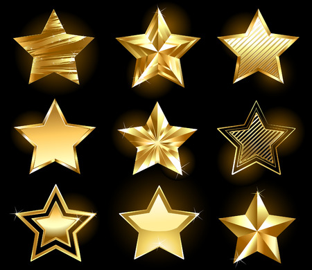 star award: Set of gold, fine stars on a black background