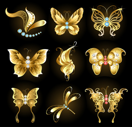 set of golden dragonflies and butterflies, encrusted with sapphires, rubies and diamonds on a black background Vector