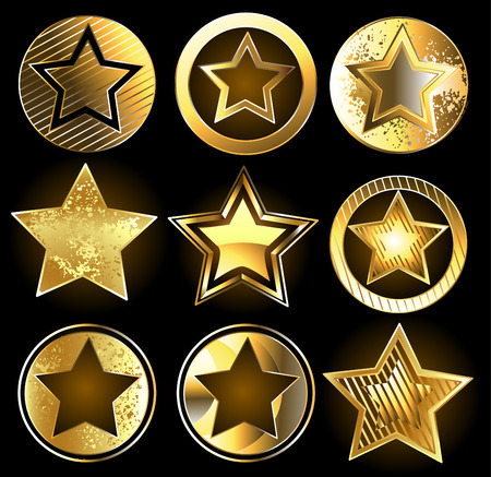 Set of gold, shining military stars on a black background