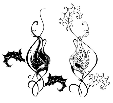 entwined: black silhouette of two artistically painted bindweed, white background  Illustration