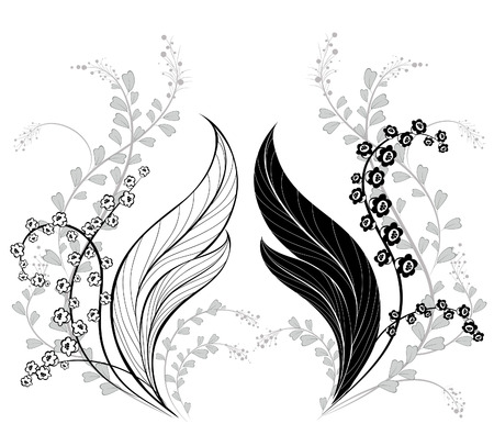 artistically: silhouette of two, artistically painted lily of the valley, with wild grass on a white background           Illustration