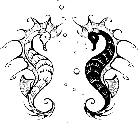 Two black silhouette stylized seahorses on a white background  Vector