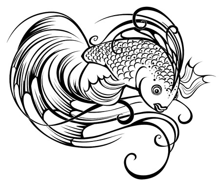 Beautiful stylized and artistically painted a fish on a white background  Illustration
