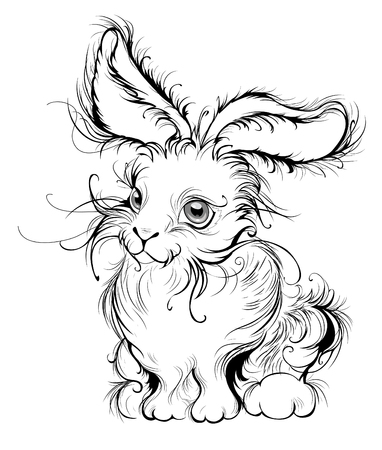 pastiche: artistically painted in smooth black lines, stylized fluffy bunny with big ears, a white background
