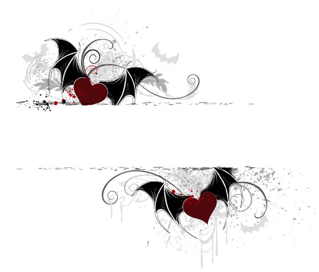 two horizontal banner with artistically painted, hearts, vampire