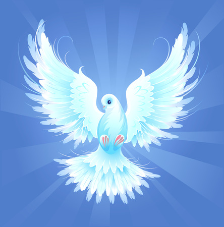 White, artistically painted, flying dove on a blue radiant background