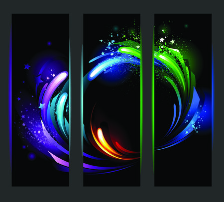 set of vertical banners with bright dynamic background Illustration