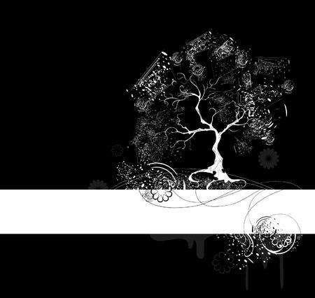 peinture blanche: arbre stylis� blanc avec des feuilles peintes avec de la peinture blanche sur un fond noir Illustration