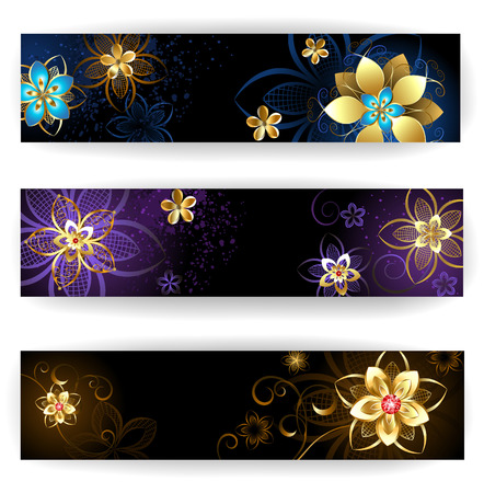 three horizontal banner with gold jewelry , abstract flowers on dark brown and purple    矢量图像