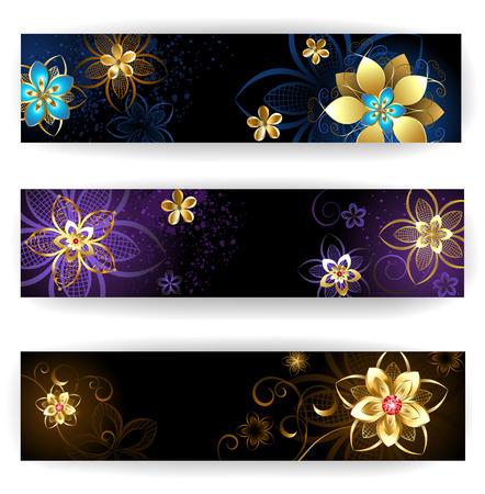 tres banner horizontal con joyas de oro, flores abstractas en marrón oscuro y morado