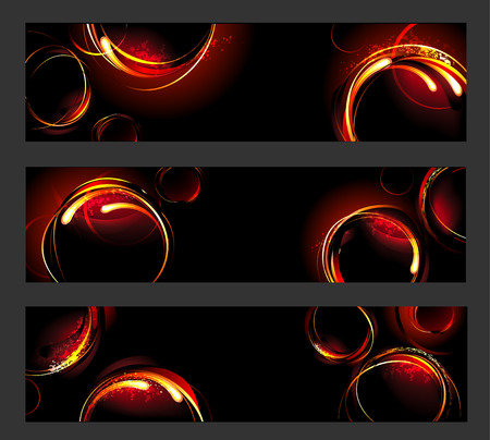 warmness: three banners with fiery , hot circles on a black