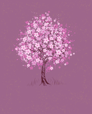 artistically painted pink flowering cherry tree on pink textural