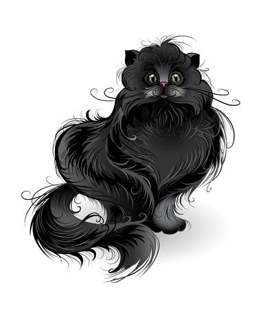 ilustracion: art�sticamente pintados, gato negro suave y esponjosa de raza persa, se sienta en un blanco.