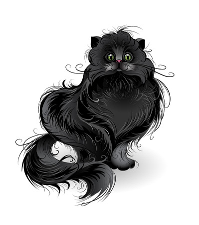 illustration isolated: artistically painted , fluffy black cat of Persian breed , sits on a white.