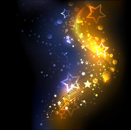 lucero: brillante, abstracto, de oro con azul, decorado con estrellas Vectores