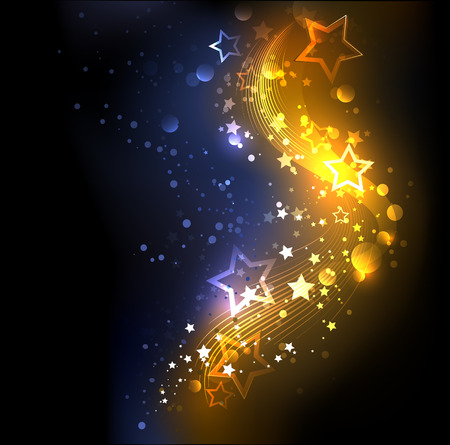 famous star: glowing , abstract , golden with blue, decorated with stars