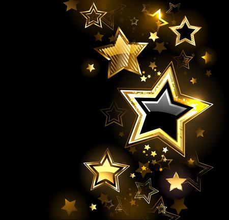 star symbol: shiny gold star with small stars on a black  Illustration