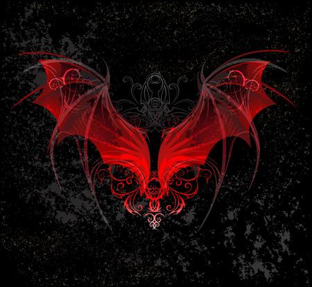 Asas de dragão vermelho, decoradas com um padrão em um textural preto Ilustración de vector