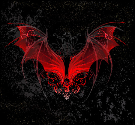 demon: Red Dragon wings, decorated with a pattern on a black textural  Illustration