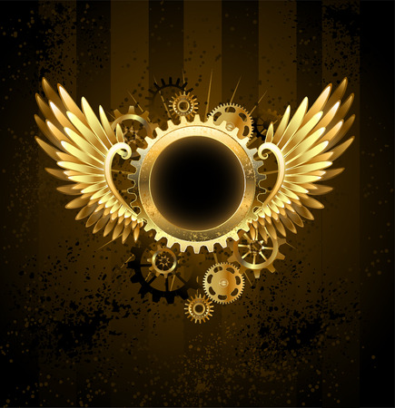 Brass round banner with metal wings and brass gears on striped Steampunk. Illustration