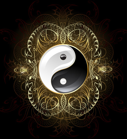 yin yang symbol on a dark, decorated with gold abstract pattern of abstract beings.