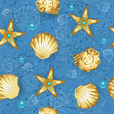 seamless, blue, sandy background with gold seashells and starfish  Vector