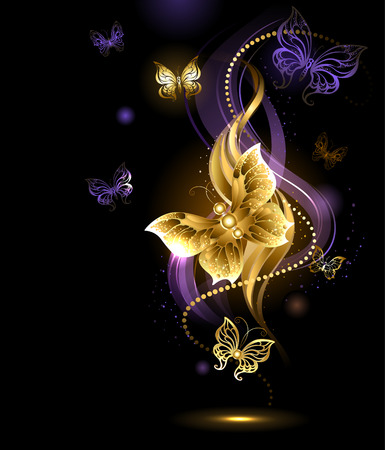 purple pattern: artistically painted , gold jewelry butterfly on abstract dark background Illustration