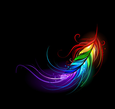 artistically painted rainbow feather on a black background