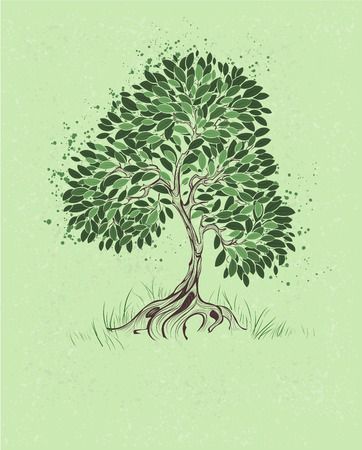 author: artistically painted tree with green leaves on a green background textural