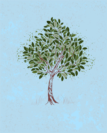 artistically: artistically painted young tree with green leaves on a blue textural background