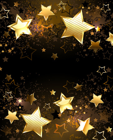 Black background decorated with texture and golden stars